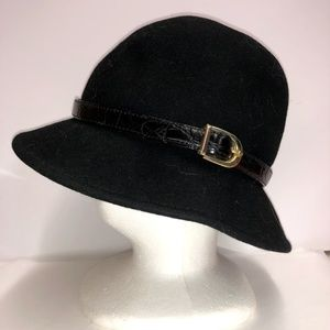 Scala Black Wool Cloche Hat With Buckle Detail